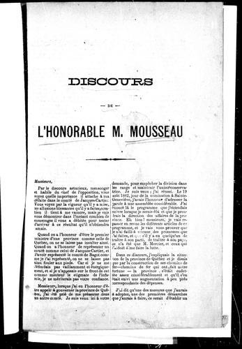 Download Discours de l'Honorable M. Mousseau