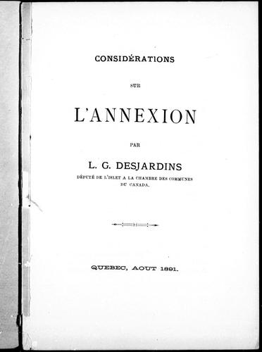 Considérations sur l'annexion