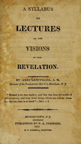 Download A syllabus of lectures on the visions of the Revelation.