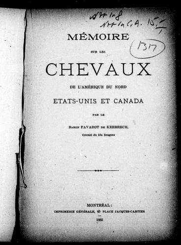 Download Mémoire sur les chevaux de l'Amérique du Nord, Etats-Unis et Canada