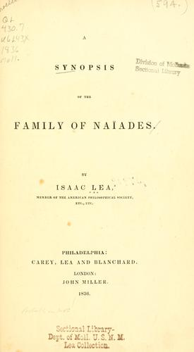 A synopsis of the family of Naiades.