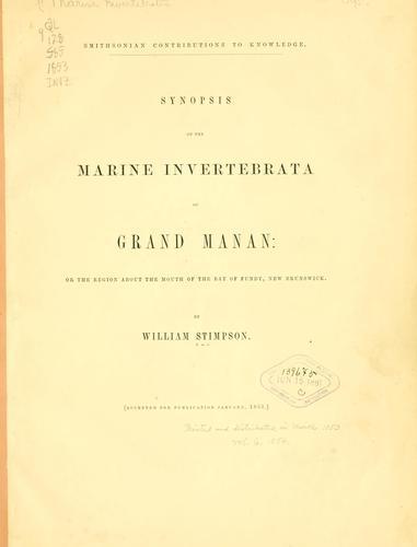 Download Synopsis of the marine Invertebrata of Grand Manan