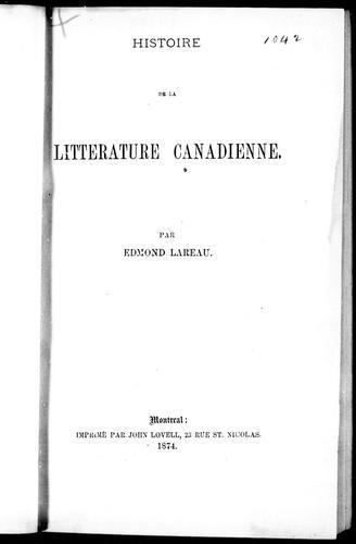 Download Histoire de la littérature canadienne