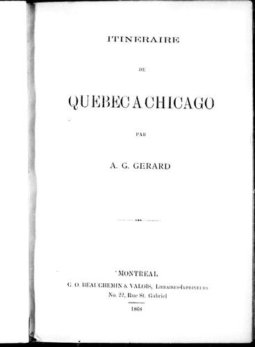 Download Itinéraire de Québec à Chicago