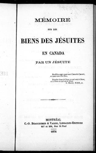Mémoire sur les biens des Jésuites en Canada