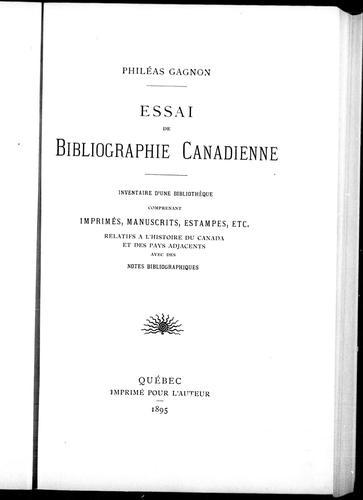Download Essai de bibliographie canadienne