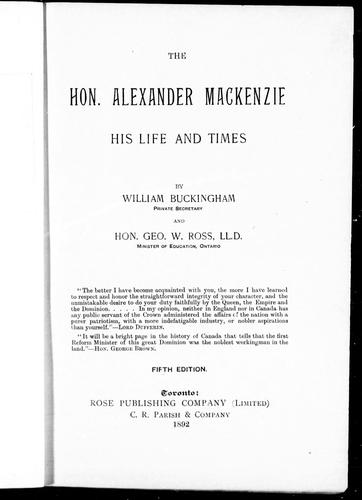 Download The Hon. Alexander MacKenzie