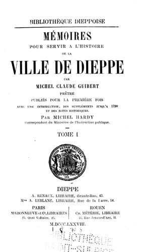 Mémoires pour servir à l'histoire de la ville de Dieppe
