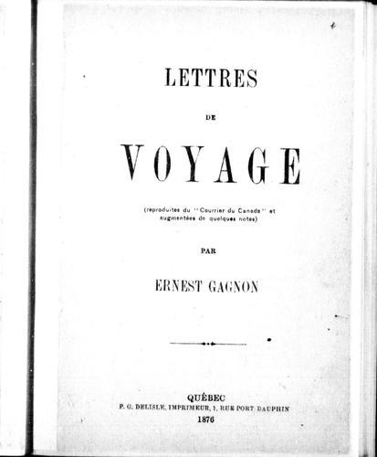 Lettres de voyage