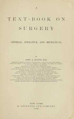 A text-book on surgery