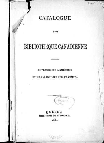 Download Catalogue d'une bibliothèque canadienne