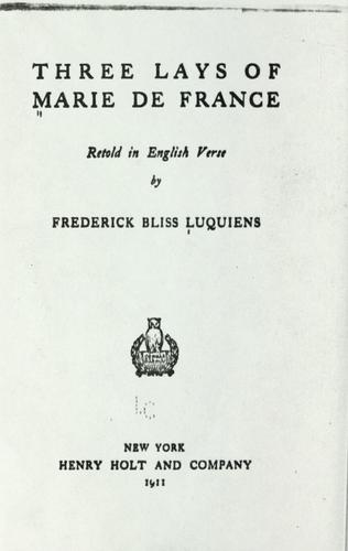 Three lays of Marie de France