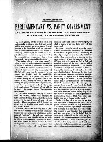 Parliamentary vs. party government