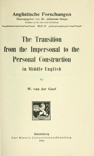 Download The transition from the impersonal to the personal construction in Middle English