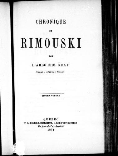 Download Chronique de Rimouski