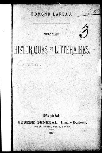 Download Mélanges historiques et littéraires