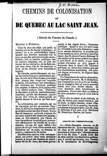 Chemins de colonisation ou De Québec au Lac Saint Jean