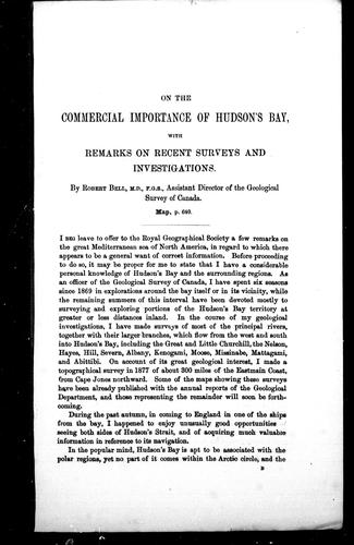 Download On the commercial importance of Hudson's Bay