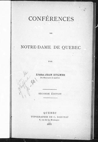Download Conférences de Notre-Dame de Québec