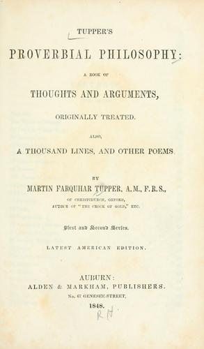 Tupper's Proverbial philosophy by Tupper, Martin Farquhar