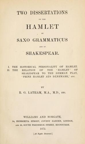 Download Two dissertations on the Hamlet of Saxo Grammaticus and of Shakespear.