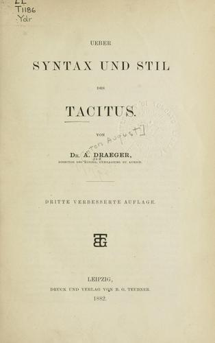 Download Ueber Syntax und Stil des Tacitus.