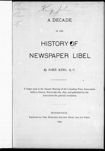 Download A decade in the history of newspaper libel