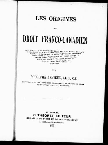 Download Les origines du droit franco-canadien