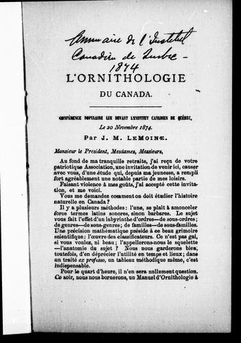Download L' ornithologie du Canada
