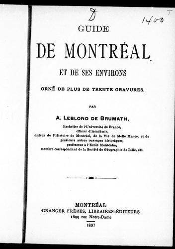 Guide de Montréal et de ses environs