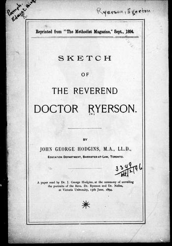 Sketch of the Reverend Doctor Ryerson by J. George Hodgins