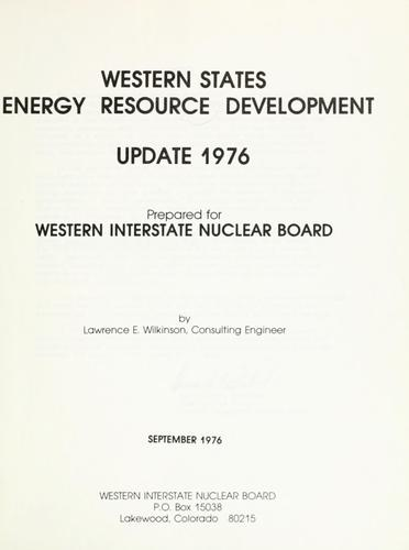Download Western States energy resource development