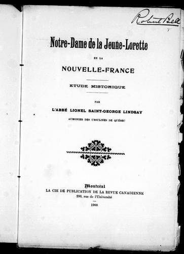 Notre-Dame de la Jeune-Lorette en la Nouvelle-France