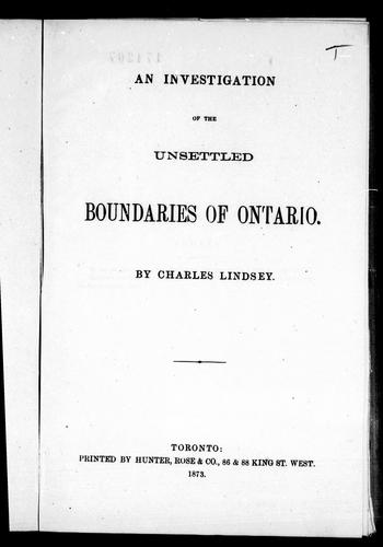 Download An investigation of the unsettled boundaries of Ontario