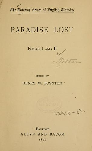 Download Paradise lost. Books I and II.