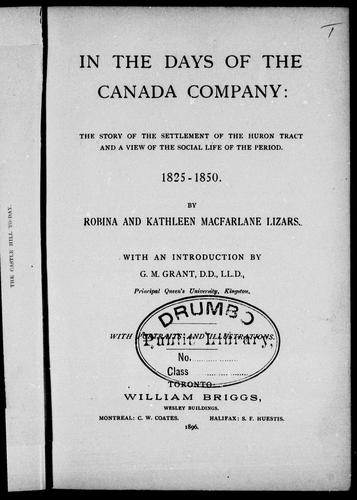 Download In the days of the Canada Company