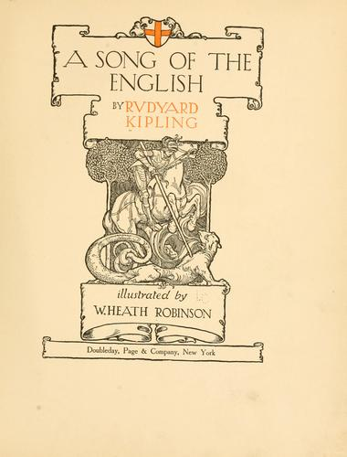 A  song of the English by Rudyard Kipling