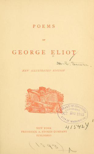 Poems of George Eliot.