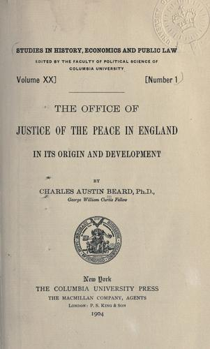 Download The office of justice of the peace in England in its origin and development.