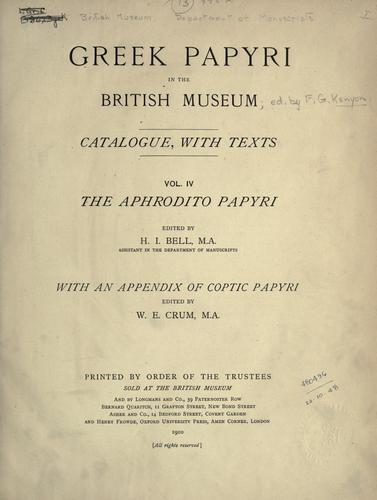Download Greek papyri in the British Museum