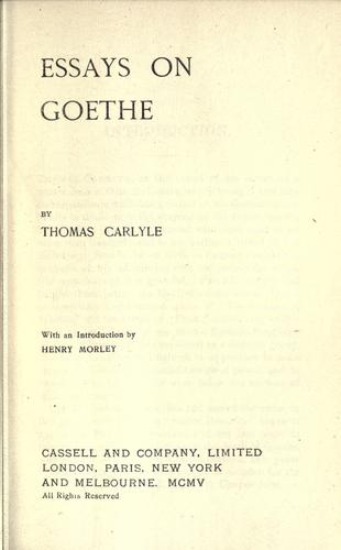 Essays on Goethe