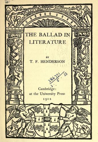 The ballad in literature.