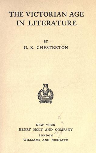 Download The Victorian age in literature