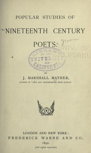 Download Popular studies of nineteenth century poets.