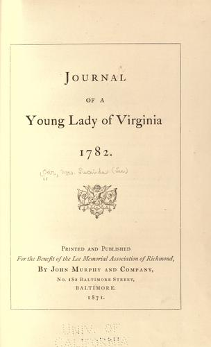 Journal of a young lady of Virginia