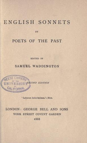 Download English sonnets by poets of the past