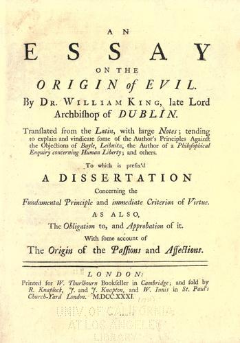 An essay on the origin of evil.