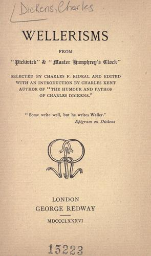 """Download Wellerisms from """"Pickwick"""" & """"Master Humphrey's clock"""""""