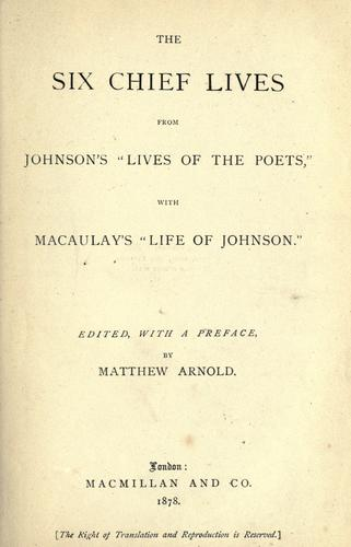 "The six chief lives from Johnson's ""Lives of the poets"""