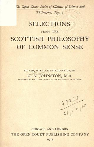 Selections from the Scottish philosophy of common sense.